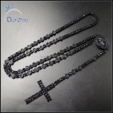 new style fashion hip hop black crystal cross rosary necklace