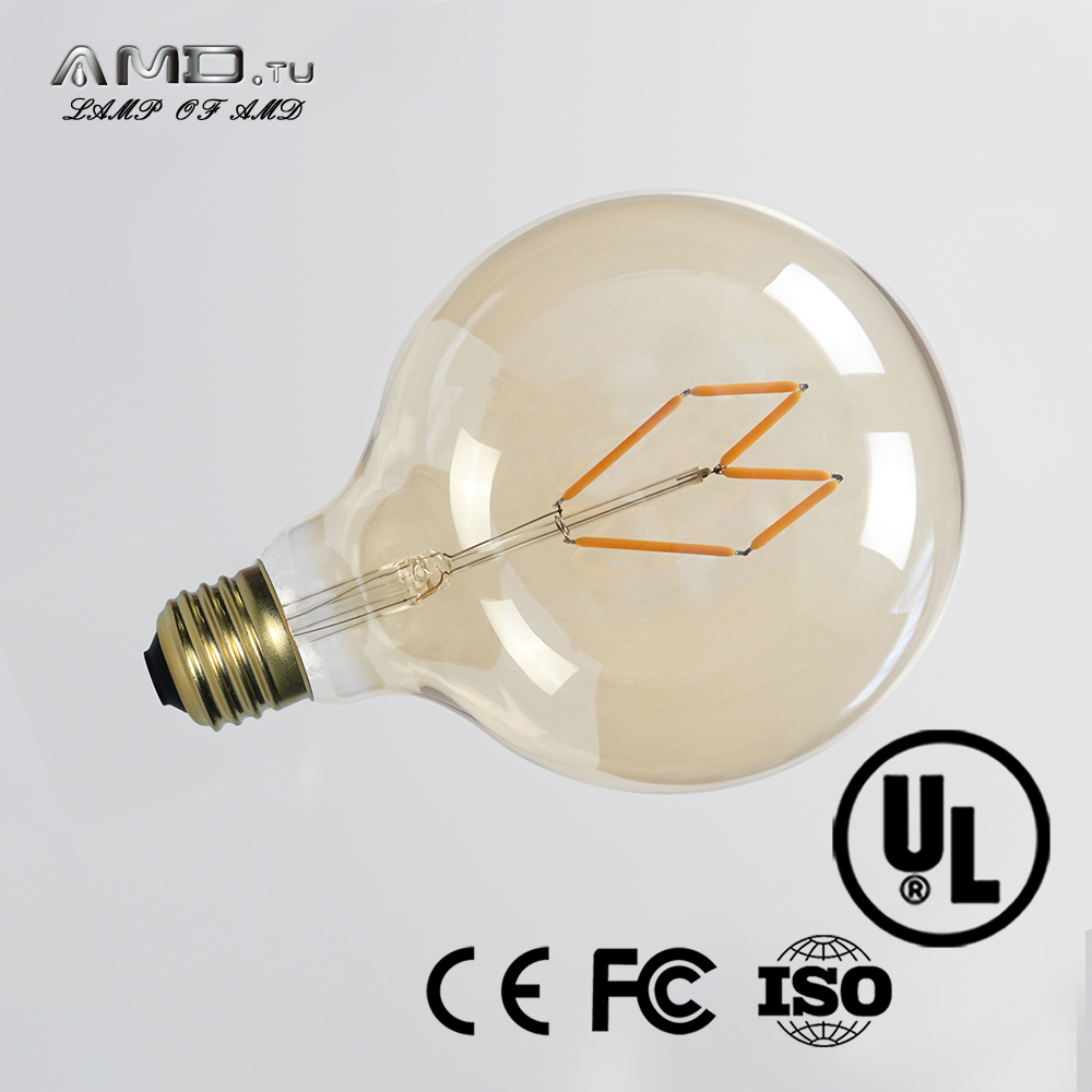 butterfly style filament g125 decorative golden ball led bulb e27 2700k 6w