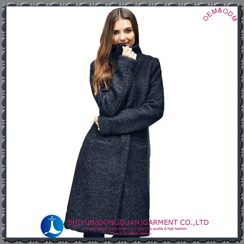 2015 the newest slim fit cheap clothing women's warm woolen coat with long sleeve marl grey free sample