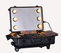 Professional Black/Pink Aluminum Makeup Case With Lights,Easy Carrying Aluminum Lights Case With Mirror KL-MCL006