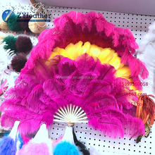 High Quality sale cheap cosplay accessories Beautiful large rainbow ostrich feather fan
