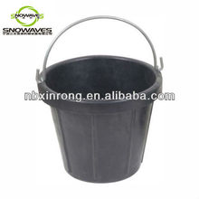 10L Black Rubber Bucket with Steel Handle