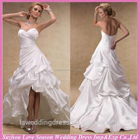 WD1274 Ball gown strapless ruched front short and back long corset back court train satin uniqueplus wedding dresses patterns