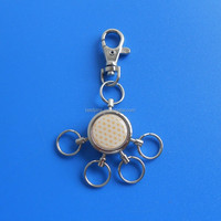 novelty metal multi ring keychain with printed custom flower of life design