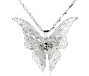 Latest design plated 925 silver hollow butterfly necklace