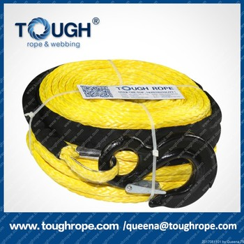 4WD off-road 4x4 synthetic electric winch rope with hook and sheath,12V,40000lbs,15mm*28m