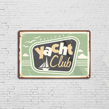 Yacht Club The Beach Vintage Funny Tin Sign Wall Retro Metal Bar Pub Poster 8 x 12 retro tin sign