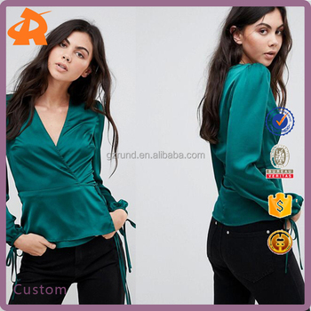custom high quality girlsgreen latest satin blouse manufacturer in china