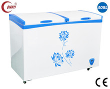 chest deep freezer popsicle ice cream glass door refrigerator freezer 308L