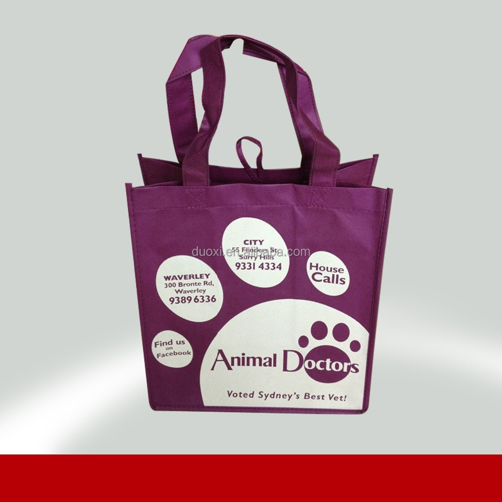 Promotional non woven reusable gift bag purple shopping bag 100% manufacturer