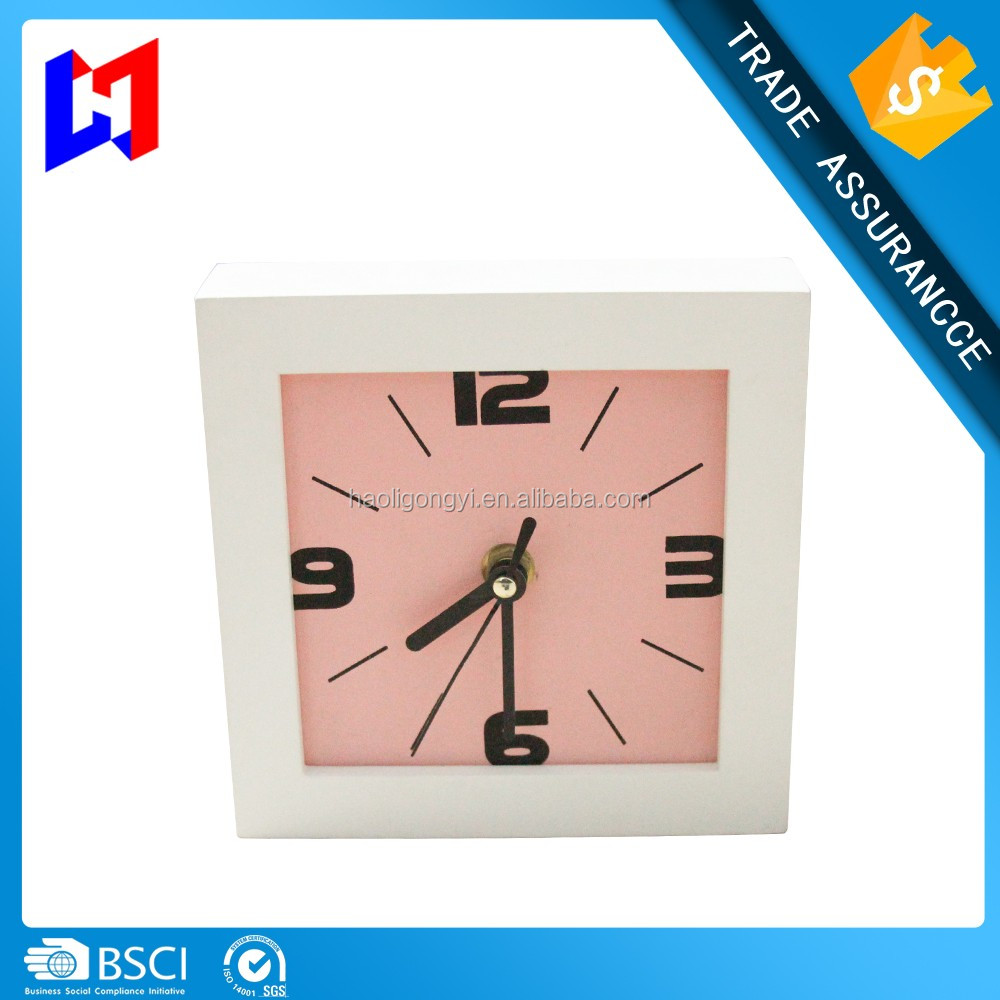 Wholesale cheap wood table clock kid / hot sale square promotion table alarm clock
