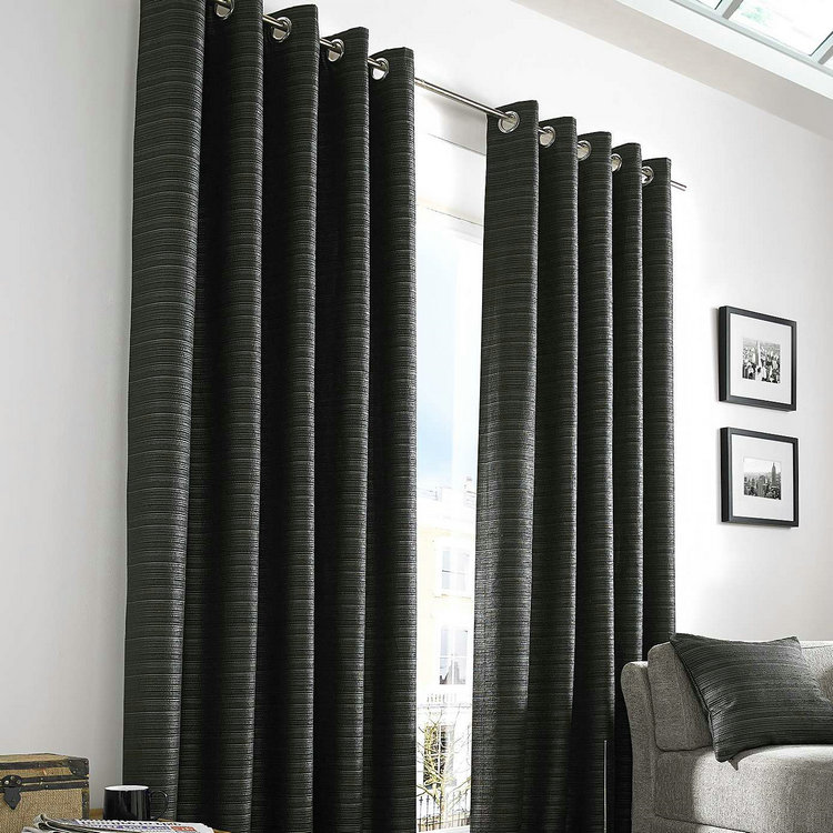 Black Lined Eyelet Curtains With Home Decor Items