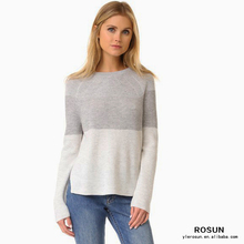 Ladies ribbed-knit side slit long sleeve organic cashmere sweater wool sweater