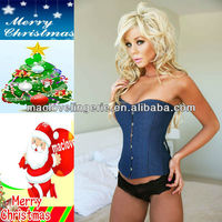 ML4009 S/M/L/ML Blue Denim Underbust Corset full female body suit