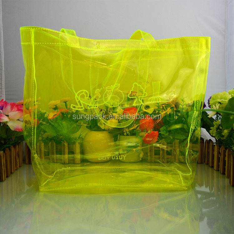 High Quality Yellow PVC Shopping Bag with Handle Tote Cosmetic Carrier Bag