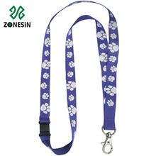 Cute Paw Pattern Sublimation Polyester Plastic Breakaway Lanyards for Keys