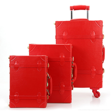 printing vintage 3 piece trolley set unique luggage for ladies