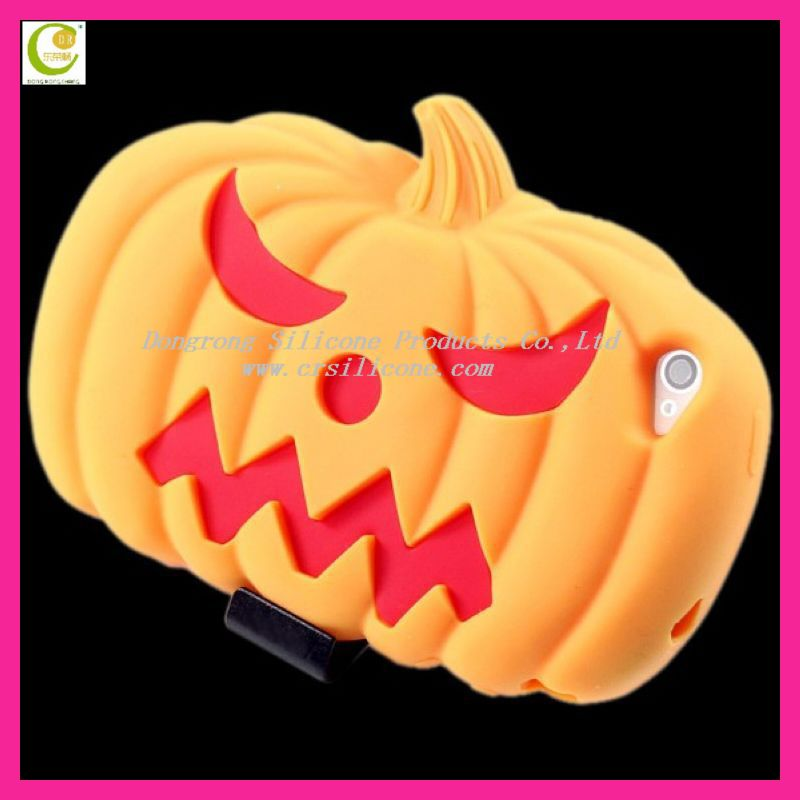 New arrival design halloween devil pumpkin silicone custom case for iphone 5