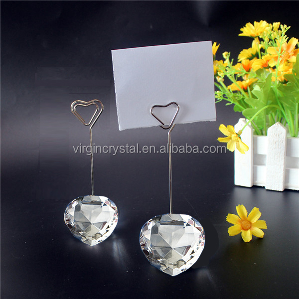 Wedding table favor crystal heart diamond paper clip memo card holder