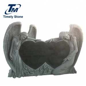 Granite Grave Tombstone Double Angel Double Heart Shaped Headstones