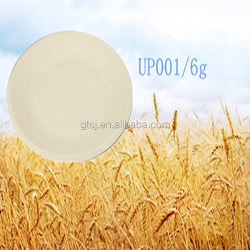 disposable biodegradable wheat straw paper pulp plate