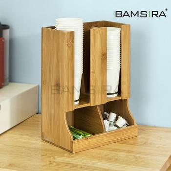 Bamboo coffee cup holder and coffee condiment organizer /Bamsira_Factory