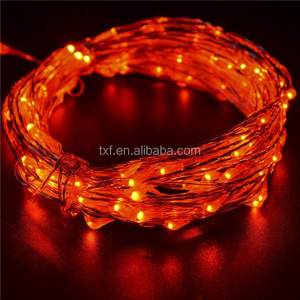 Copper Wire Led Holiday Twinkle Lights, Christmas Led Copper Wire String Lights red color 100 led 10 meters