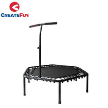 CreateFun Adult Indoor Bungee Cord Jumping Rebounder Gymnastic Fitness Mini Hexagon Trampoline with Handle