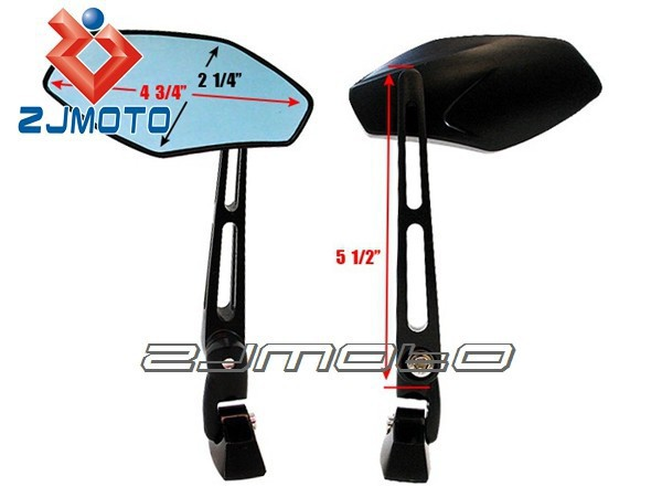 Motorcycle Universal Black Aluminum Rear View Mirrors for GSX-R 600 750 1000 Hayabusa SV TL