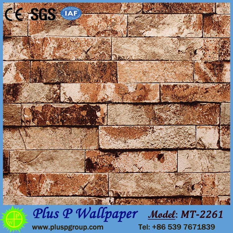 Plus P 3D Natural Brick and Wood Stick Wallpaper for Spa Decoration