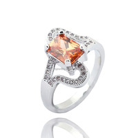 JTS Trendy 18K White Gold Plated Rings Rhodium Plating Copper Ring Colorful Zircon Jewelry for Women R335