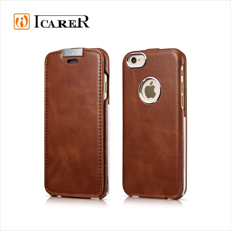 ICARER Leather Case for iPhone 6 / 6s with Metal Flip Cover Mobile Accessories