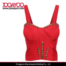 Fashion Women Spaghetti Strap Rivet Crop Vest Ladies Sexy Tube Tops
