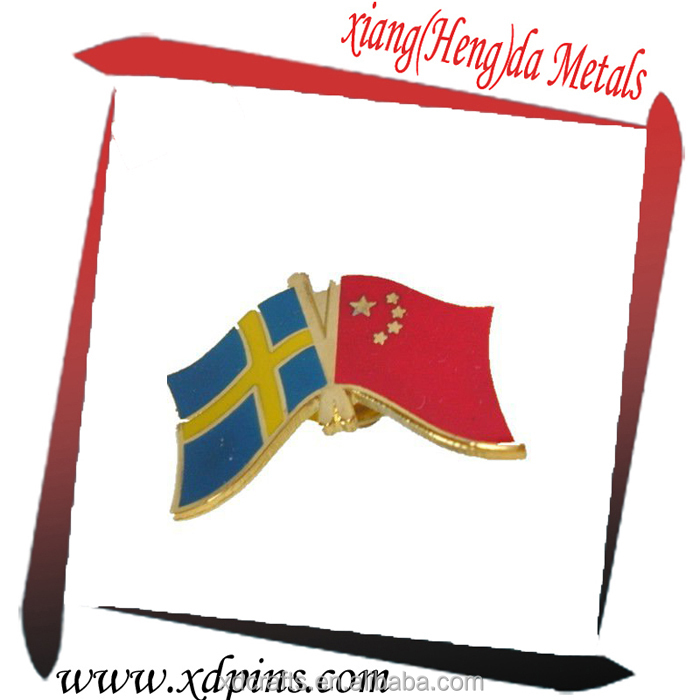 Wholesale custom China and Sweden friendship Flag badge