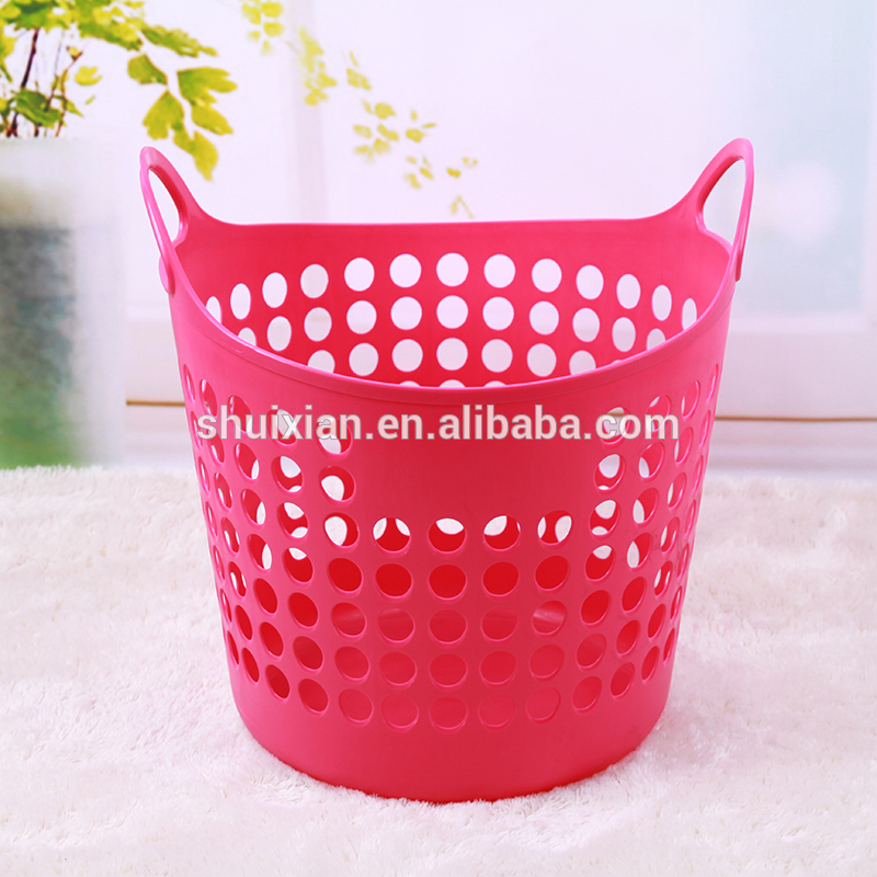 Excellent Round Flexible Garden Plastic Laundry Basket With Handle