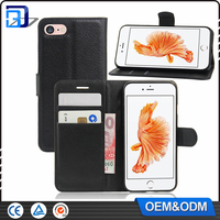 Shockproof Litchi Design Credit Card Wallet Stand Flip Leather Case For iPhone 7