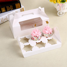 Biodegradable White Cardboard Cupcake Muffin Paper Box With Handle & Divider