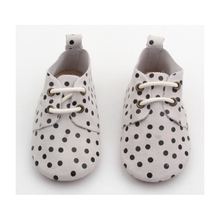 Polka dots patterns oxford shoes handmade leather baby casual shoes white