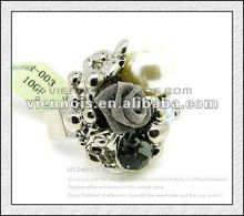 Fashion Jewelry Ladies Artificial Flower Ring With Pearl