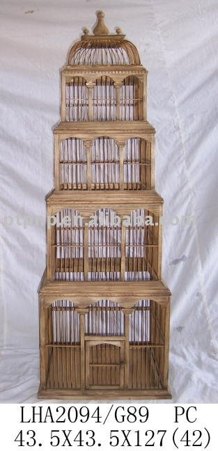 large bamboo wood bird cage