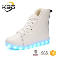 Awesome High Top USB Charging Lighting Lady Sneaker Simulation LED Shoes 2016 New Design