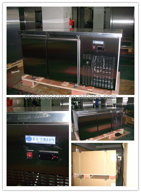 display salad food counter with curved glass lid, stainless steel refrigeration showcase , restaurant kitchen equipment