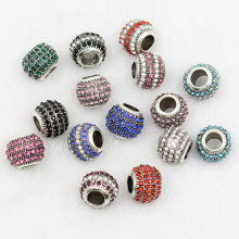 Wholesale!!! 2016 NEW Alloy &Crystal Hole Beads Loose Spacers for Jewelry Making MoonSo KA2640