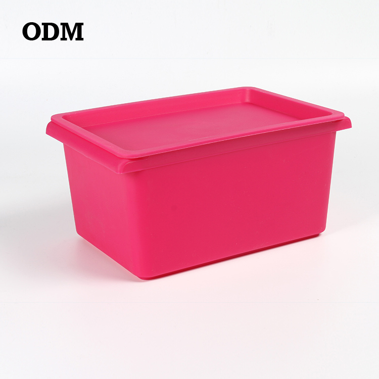high quality plastic clothes storage container toys/cosmetic bins with lid low MOQ European standard