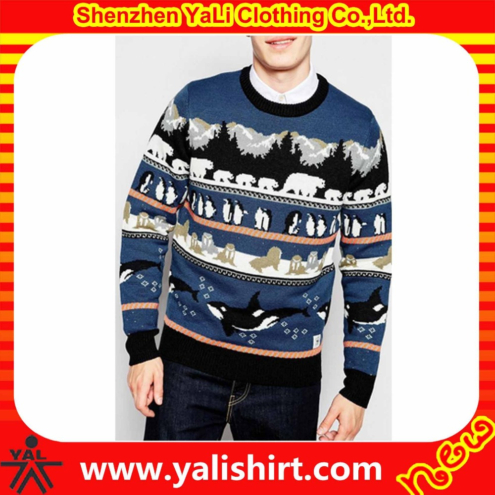 Wholesale bulk comfortable soft long sleeve full graphic wool/cashmere designer christmas sweater