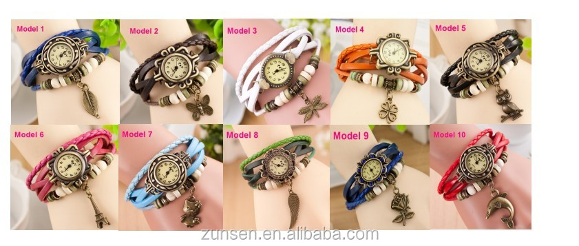 Wholesale 10 Colors Women Vintage Leather Watches Eiffel Tower Pendant Watch Women Ladies Dress Quartz Wristwatches Clock