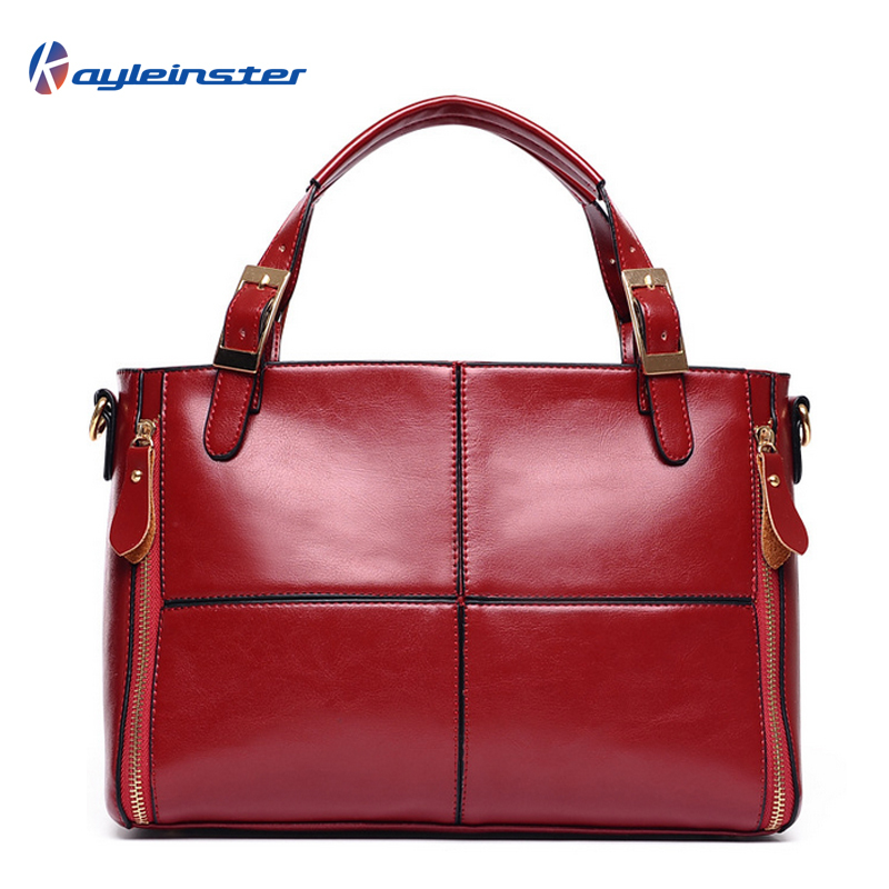 New 2015 Genuine Leather Women Handbag Famous Brand Fashion Patchwork Oil Wax Leather Women Shoulder Bag Wine Red Women Bag Tote