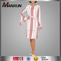 Women Red Striped Fashion Dress Midi Length Long Bell Sleeves Casual Dress With A Belt