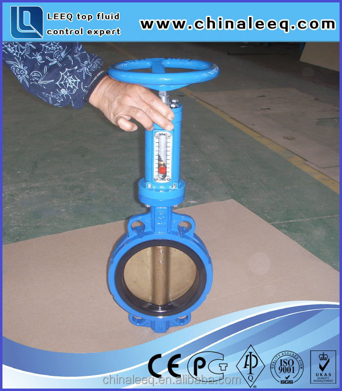 vertical worm gear operated Wafer type Cast Iron Butterfly Valve