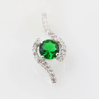 Wholesale Emerald Zirconia Real 925 Sterling Silver Pendants Charms
